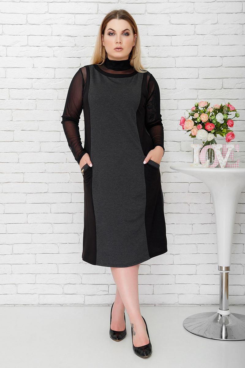 Сарафан Арина серый+черные вставки