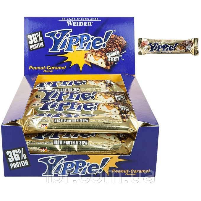 Протеиновый батончик WEIDER Yippie! 70 g Peanut-Caramel 12 шт