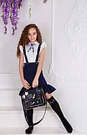 "Школьная блуза с брошью ""Бант"" 134-152 белый"