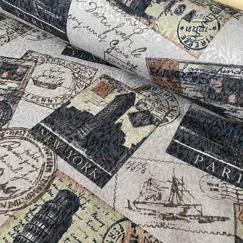Ткань скатертная жаккардовая с марками на кремовом фоне, ширина 147 см