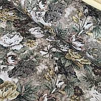 Ткань скатертная жаккардовая с цветами на бежево-коричневом фоне, ширина 147 см, фото 1
