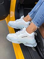 Женские кроссовки Balenciaga Triple Clear Sole White, женские белые кроссовки баленчиага трипл с