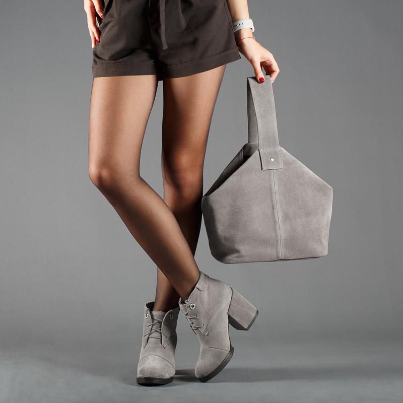 Замшевые серые женские ботинки на каблуке, деми, зима. Каблук 9 см. Цвет любой