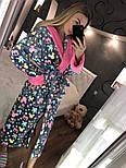 """Женский модный теплый длинный халат с поясом """"Микки"""", фото 2"""