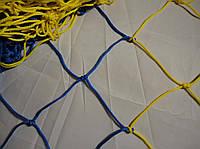 Сетка для футбола повышенной прочности «ЭКСКЛЮЗИВ 1,5» желто-синяя (комплект 2 шт.), фото 1