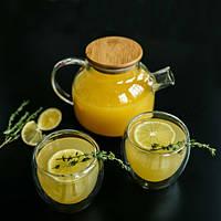 """Стеклянный чайник заварник """"Стокгольм"""" + 2 кружки """"любимый чай"""" с двойным дном ( 600 мл + 2 по 250 мл)"""