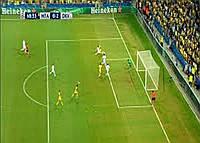 Сетка для футбола повышенной прочности «ЛЮКС 2,1» желто-синяя (комплект 2 шт.), фото 1