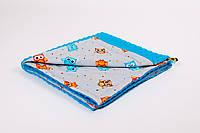 Плед детский в коляску BabySoon 78х85см Веселые совы с плюшем бирюзового цвета
