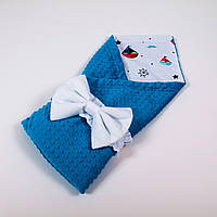 Демисезонный плюшевый конверт - одеяло на выписку BabySoon Кораблики на белом с бирюзовым плюшем 78 х 85 см