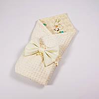 Демисезонный плюшевый конверт - одеяло на выписку BabySoon Зверята 78 х 85 см