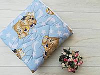 """Детское стеганное одеяло """"Мишки мальчик""""(шерсть)"""