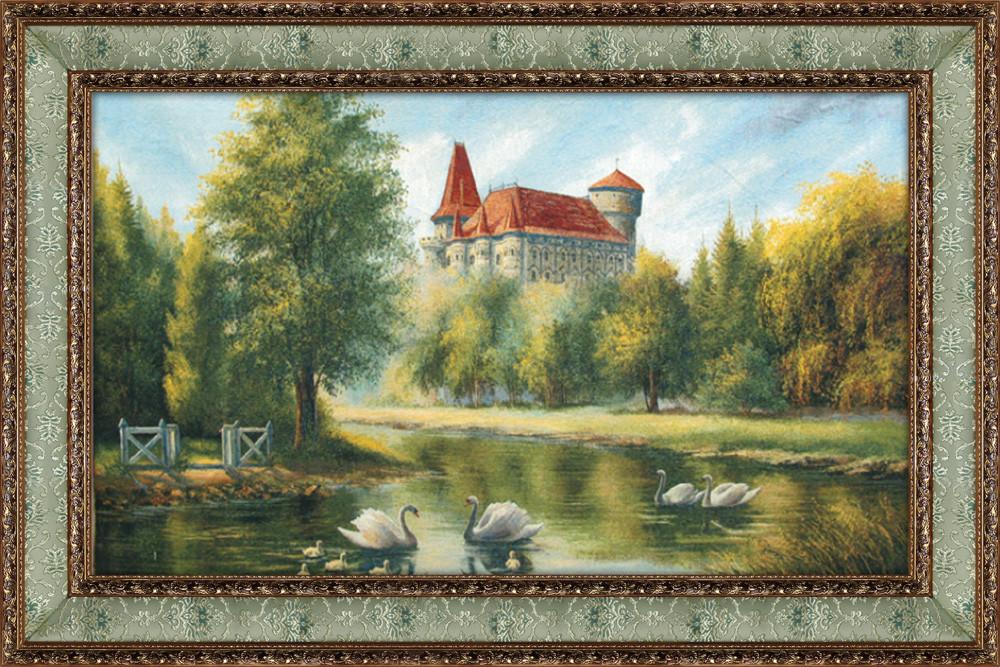 Гобеленовая картина Декор Карпаты Замок с лебедями 70х108 (gb_24)
