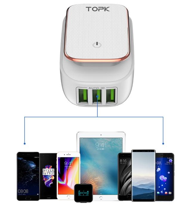Сетевое зарядное устройство Topk на 3*USB с подсветкой