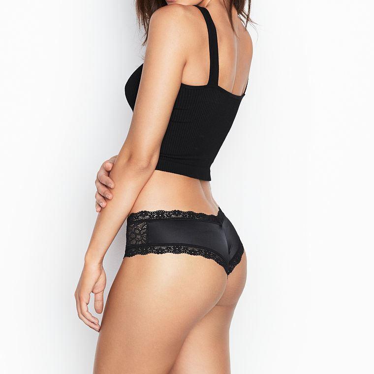 💋 Трусики Чики Victoria's Secret Lace Cheeky, Черные