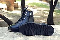 Мужские кожаные хайтопы черные из натуральной кожи