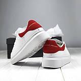 Женские кроссовки в стиле Alexander McQueen (white/red), женские белые кроссовки (Реплика ААА), фото 3