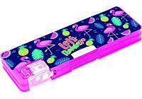 Пенал с держателем для ручек и точилкой, 2 отд.., пластик, розово-синий, Cool for school Flamingo