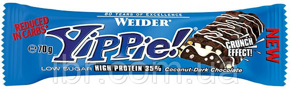 Протеиновый батончик WEIDER Yippie! 70 g Coconut-Dark Chocolate