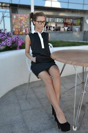 Платье с белым воротничком , фото 2