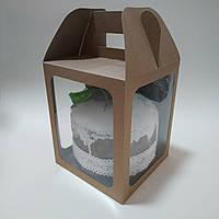 Коробка для кулича, подарков, пряничных домов 165х165х200 мм. с тремя окнами