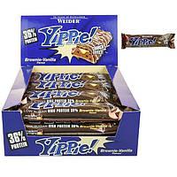 Протеиновый батончик WEIDER Yippie! 70 g Brownie-Vanilla 12 шт, фото 1