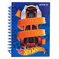 Блокнот дет. А6, Kite Hot Wheels, карт. тв., 80 л., чист.л., спир. боков.