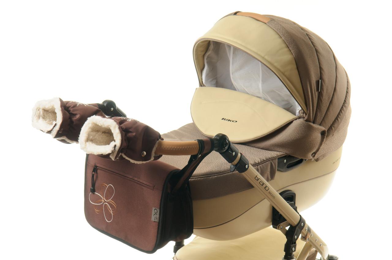 Комплект сумка и рукавички на коляску Ok Style Цветок (Коричневый)