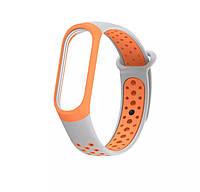 Браслет / Ремешок для Фитнес-трекер / Смарт часы Mi Band 3 / 4 серый с оранжевым