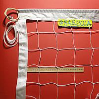 Сетка волейбольная «ЭКОНОМ 10 НОРМА NEW» с тросом белая, фото 1