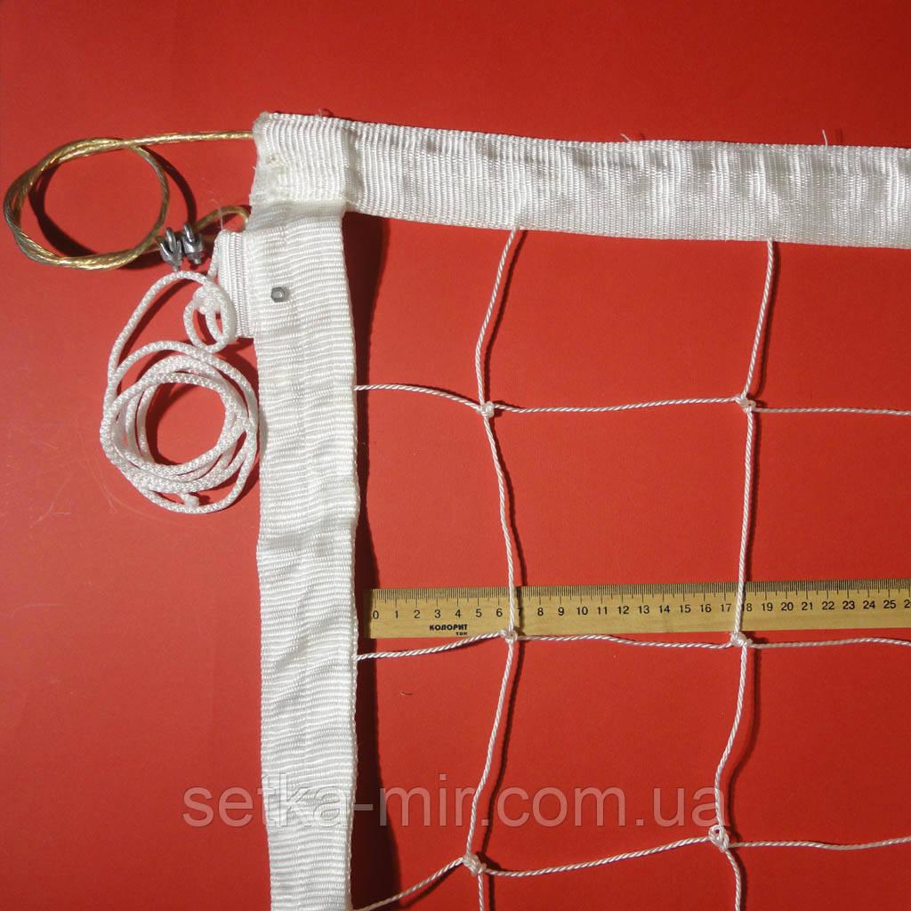 Сетка для волейбола «ПРЕМИУМ 12 НОРМА» с тросом белая