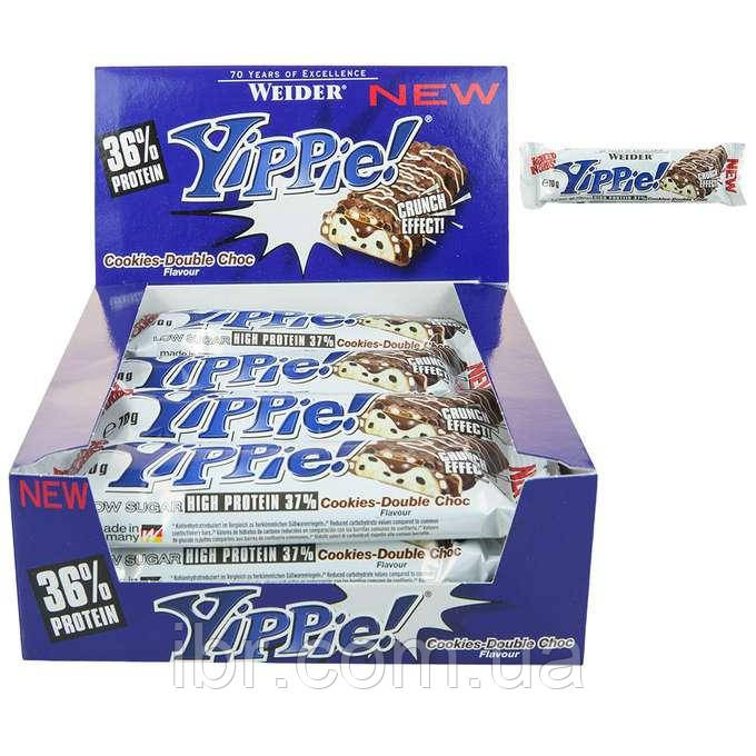 Протеиновый батончик WEIDER Yippie! 70 g Cookies-Double Choc 12 шт