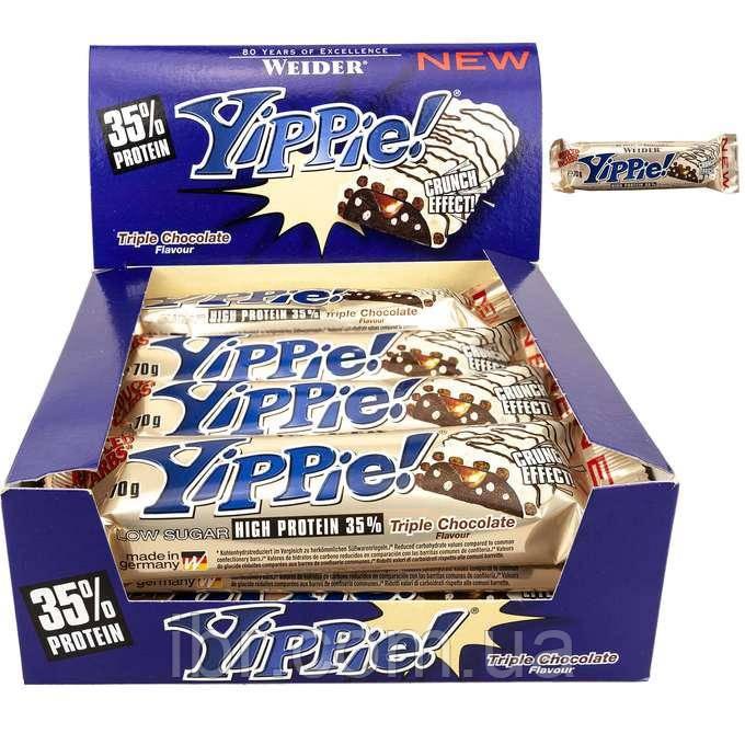 Протеиновый батончик WEIDER Yippie! 70 g Triple Chocolate 12 шт