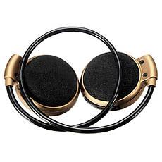 Бездротова гарнітура 3в1 bluetooth-навушники, MP3-плеєр, FM радіо (золотистий), фото 3