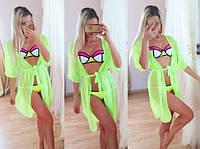 Женский пляжный шифоновый халат -туника в расцветках, фото 1