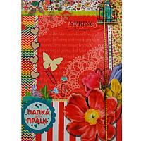 Папка для труда А4, картон, на резинке, Рюкзачок Цветы, 2,5см