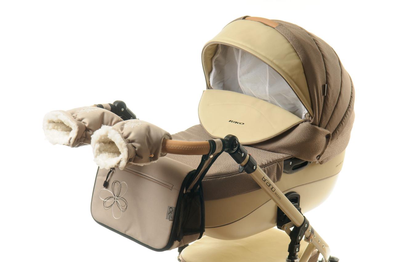 Комплект сумка и рукавички на коляску Ok Style Цветок (Капучино светлый)