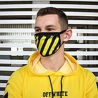Маска для лица черно-желтая Off-White