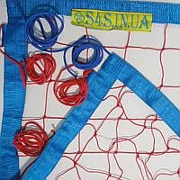 Сетка для пляжного волейбола «ТРАНЗИТ» с паракордом красно-синяя, фото 1