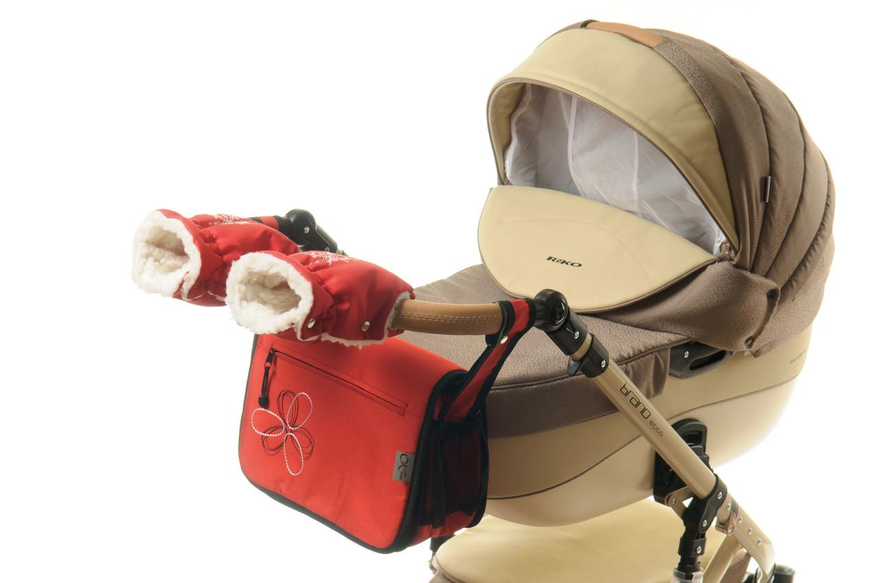 Комплект сумка и рукавички на коляску Ok Style Цветок (Красный)