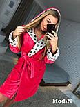Женский розовый теплый халат с капюшоном в горошек, фото 3