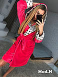 Женский розовый теплый халат с капюшоном в горошек, фото 2