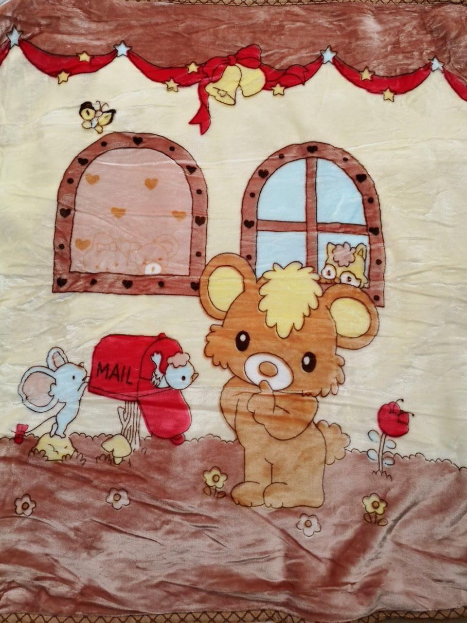 Плед детский плюшевый, покрывало в кроватку код 708-3