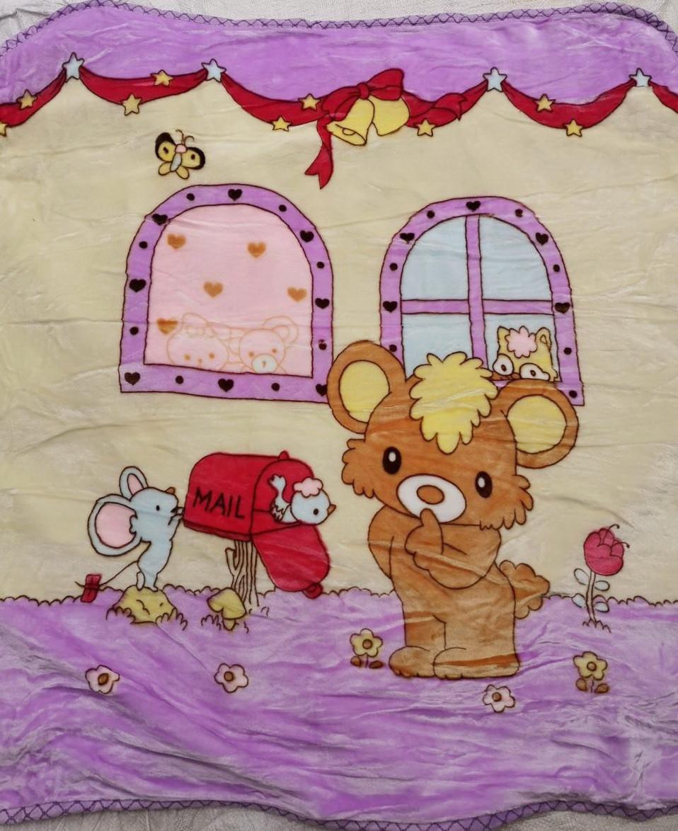 Плед детский плюшевый, покрывало в кроватку код 708-5