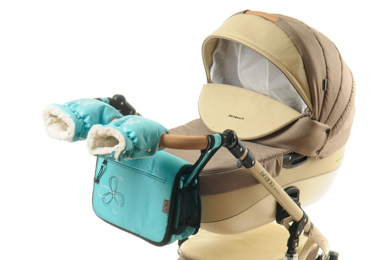 Комплект сумка и рукавички на коляску Ok Style Цветок (Морская волна светлая)