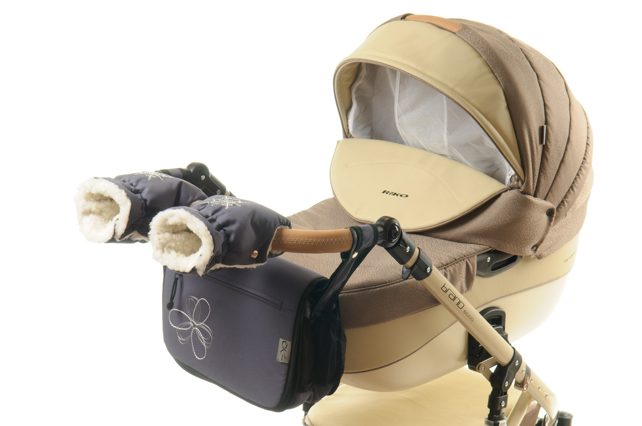 Комплект сумка и рукавички на коляску Ok Style Цветок (Темно серый)