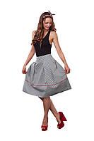 Стильная юбка миди в полоску со складками, фото 1