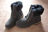 Женские ботинки тимберленды мех синий осень-зима  Европа 37размер