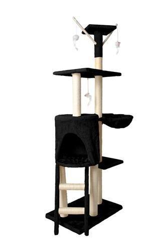 Дерево домик когтеточка когте точка драпак дряпка для кота кошки138 см чорний