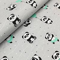 Пелюшка бавовняна 80х80 см - м'ятні панди на сірому