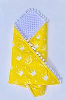 Плед - конверт  детский демисезонный с помпонами и белым плюшем Minky и хлопка. одеяло в кроватку, каляску.